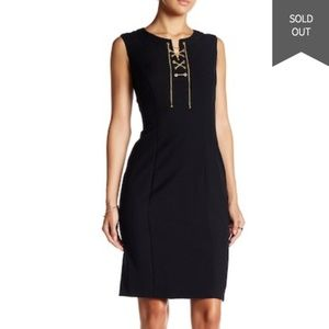Ellen Tracy Sleeveless Lace Up Shift Dress